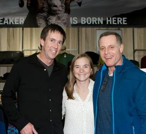 "Jeremy Moon (left) and Jason Beghe (right), star of TV Show ""Chicago P.D."" hit it off and later posed with Purple Heart Medal recipient Melissa Stockwell."